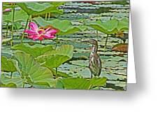 Lotus Blossom And Heron Greeting Card