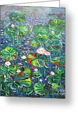Lotus Flower Water Lily Lily Pads Painting Greeting Card