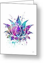 Lotus Flower Watercolor Print Greeting Card