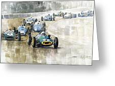 1961 Germany Gp  #7 Lotus Climax Stirling Moss Winner  Greeting Card