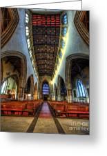 Loughborough Church - Nave Vertorama Greeting Card