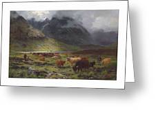 Louis Bosworth Hurt 1856-1929 Highland Cattle In A Glen Greeting Card