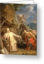 Louis Galloche - Saint Martin Sharing His Coat With A Beggar Greeting Card