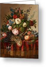 Louis Vidal, Still Life With Flowers And Fruit Greeting Card