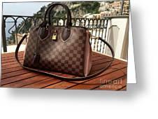 Louis Vuitton Handbag Overlooking The Amalfi Coast Greeting Card