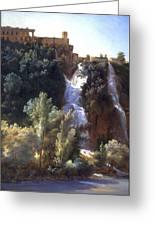 Louise-josephine Sarazin De Belmont  View Of The Falls At Tivoli Greeting Card
