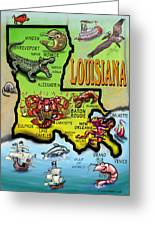 Louisiana Cartoon Map Greeting Card