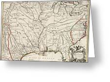 Map Of Louisiana And Of The River Mississippi Greeting Card