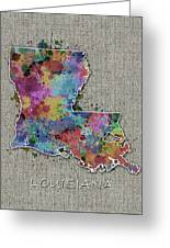 Louisiana Map Color Splatter 5 Greeting Card
