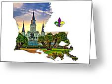 Louisiana Map - St Louis Cathedral Greeting Card