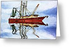 Louisiana Shrimp Boat 4 - Impasto Greeting Card