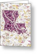 Louisiana State Map Geometric Abstract Pattern  Greeting Card