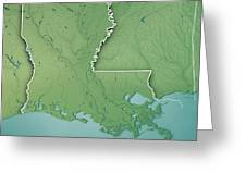Louisiana State Usa 3d Render Topographic Map Border Greeting Card