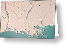 Louisiana State Usa 3d Render Topographic Map Neutral Border Greeting Card