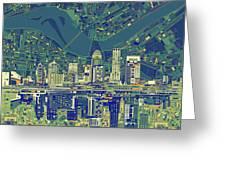 Louisville Kentucky Skyline Abstract 6 Greeting Card