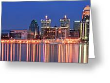 Louisville Panoramic At Blue Hour Greeting Card