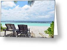 Lounge Chairs At The Beach In Maldives Greeting Card