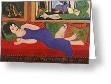 Lounging With Picasso Greeting Card