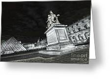 Louvre Museum 7 Art Bw Greeting Card