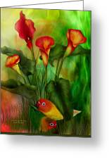 Love Among The Lilies  Greeting Card