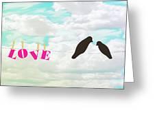 Love Birds Love Line Greeting Card