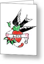 Love Bird Tattoo Greeting Card