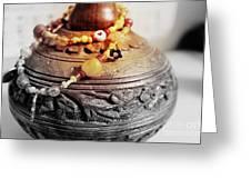 Love Bracelet On Wooden Vase Greeting Card