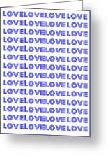 Love In Blue Neon Greeting Card