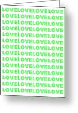Love In Green Neon Greeting Card