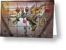 Love Lock Triangle At Naviglo Grande Milan Italy  Greeting Card