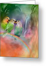 Love On A Rainbow Greeting Card by Carol Cavalaris