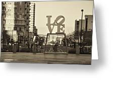 Love On The Parkway In Sepia Greeting Card