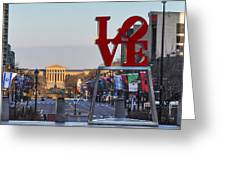 Love Park And The Parkway In Philadelphia Greeting Card