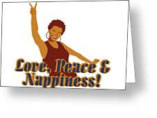 Love Peace And Nappiness Greeting Card