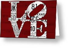 Love Sign Vintage License Plates On Red Barn Wood Greeting Card