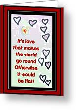 Love World Round Flat Red Greeting Card
