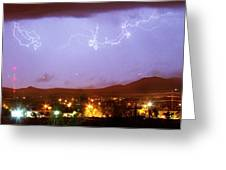Loveland Colorado Front Range Foothills  Lightning Thunderstorm Greeting Card