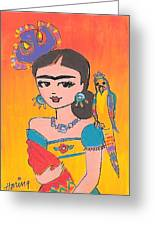 Lovely Frida And Her Parrot Greeting Card by Karen Haring