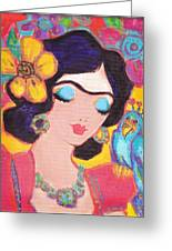 Lovely Frida And Little Blue Parrot Greeting Card