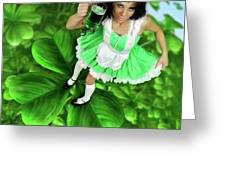 Lovely Irish Girl With A Glass Of Green Beer Greeting Card