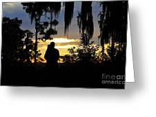 Lover's At Sunset Greeting Card