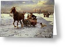 Lovers In A Sleigh Greeting Card