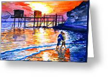 Lovers On Strand Greeting Card