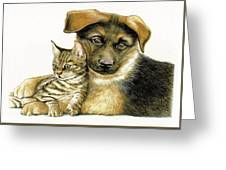 Loving Cat And Dog Greeting Card