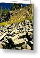 Low Angle View Of Devils Post Pile Greeting Card