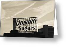 Low Angle View Of Domino Sugar Sign Greeting Card