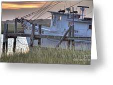 Lowcountry Shrimp Boat Sunset Greeting Card