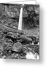 Lower Angle Of Elowah Falls In The Columbia River Gorge Greeting Card