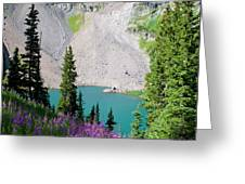 Lower Blue Lake Summer Portrait Greeting Card by Cascade Colors