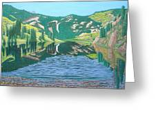 Lower Cataract Lake And Cataract Creek Falls Greeting Card